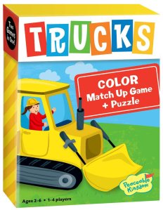 Peaceable Kingdom / Trucks 2-in-1 Color Match Up Memory Game & Floor Puzzle Baby Development Toys under $10