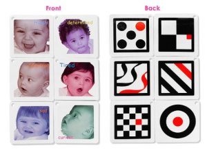 Black, White & Red Infant Stim Flashcards Set Baby Development Toys under $10