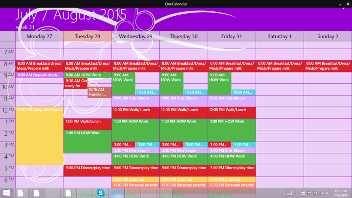 My personal color coded schedule